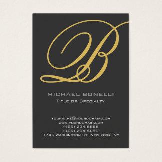 Trendy chubby modern grey gold business card