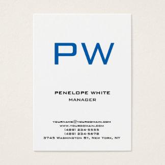 Trendy chubby modern plain white blue monogram business card