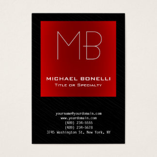 Trendy chubby modern red black gray business card