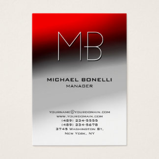Trendy chubby red grey white unique business card