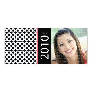Trendy Circle Square Pattern: Black & Pink Card