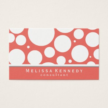 Professional Business Trendy Circles Pattern Business Cards Coral