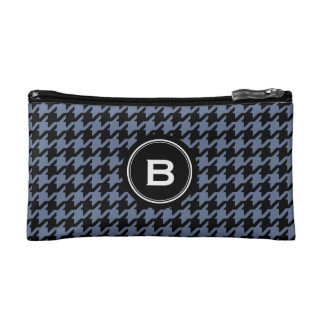 Trendy Classic blue grey houndstooth with monogram Makeup Bag