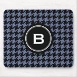 Trendy Classic blue grey houndstooth with monogram Mouse Pad