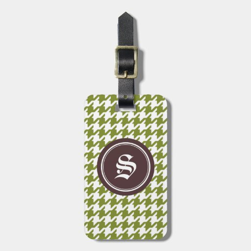 Trendy classic green houndstooth with monogram tags for bags