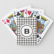 Trendy classic grey houndstooth with monogram bicycle playing cards