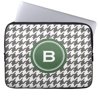 Trendy classic grey houndstooth with monogram computer sleeve