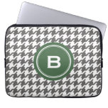 Trendy classic grey houndstooth with monogram laptop sleeves