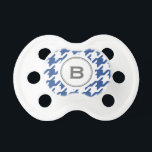 """Trendy classic grey houndstooth with monogram pacifier<br><div class=""""desc"""">Chic trendy fashion stylish blue houndstooth pattern with grey monogram, the retro preppy style dog tooth check pattern give this design a classic, and sophisticated look. Cool gifts for men. Custom the personalized monogram with your own initial, you can also click &quot;customize it!&quot; button under product photo to edit the...</div>"""