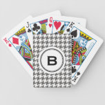 Trendy classic grey houndstooth with monogram bicycle card decks