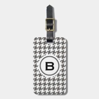 Trendy classic grey houndstooth with monogram tag for luggage