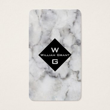 Professional Business Trendy  Classic White Marble Monogram on Square Business Card