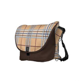 Trendy Classic Woven Plaid Tan & Blue Messenger Bag
