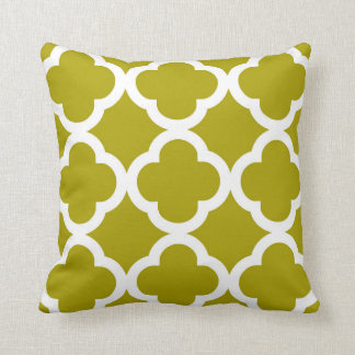 Trendy Clover Pattern in Chartreuse Green Throw Pillow