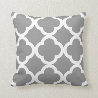 Trendy Clover Pattern in Grey and White Pillow