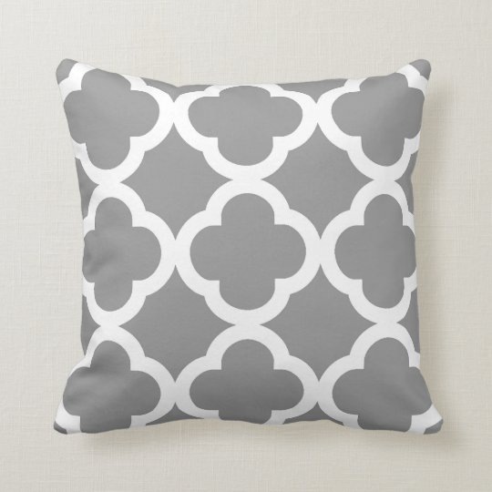 Trendy Clover Pattern in Grey and White Throw Pillow