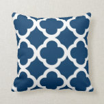 Trendy Clover Pattern in Navy Blue and White Throw Pillow