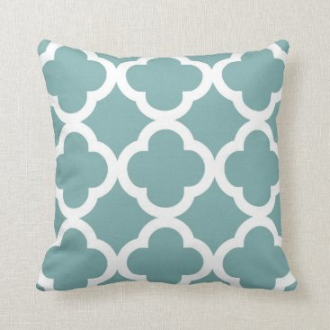 AnyTownArt Trendy Clover Pattern in Sea Glass and White Throw Pillow