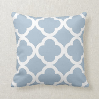 Trendy Clover Pattern in Soft Blue and White Throw Pillow