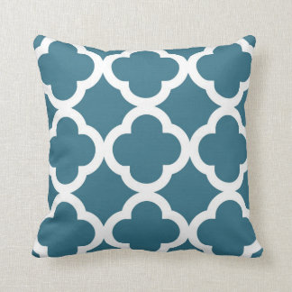 Trendy Clover Pattern in Teal Blue and White Pillow