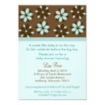 Trendy Cocoa Flower Custom Baby Shower Invitations