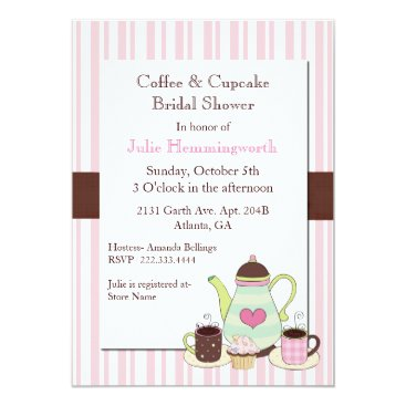 Coffee Themed Trendy Coffee Bridal Shower Invitation