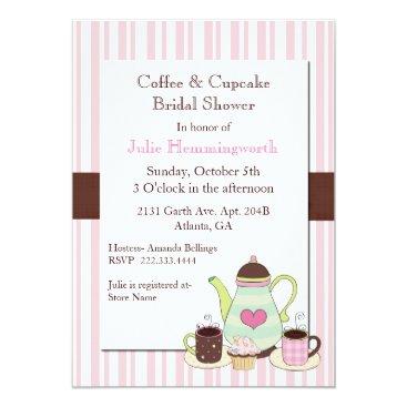 Coffee Themed Trendy Coffee Bridal Shower Invitation