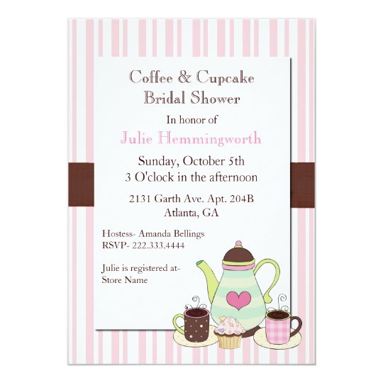 trendy coffee bridal shower invitation