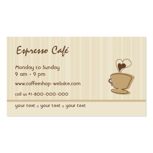Trendy Coffee Business Card (back side)