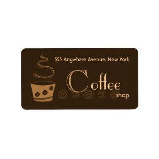 Trendy Coffeeshop Address Label