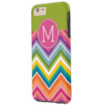 Trendy Colorful Chevron Pattern Custom Monogram Tough iPhone 6 Plus Case