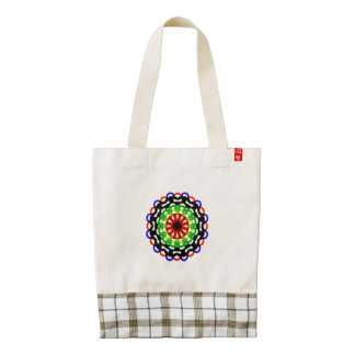 Trendy colorful circle pattern zazzle HEART tote bag