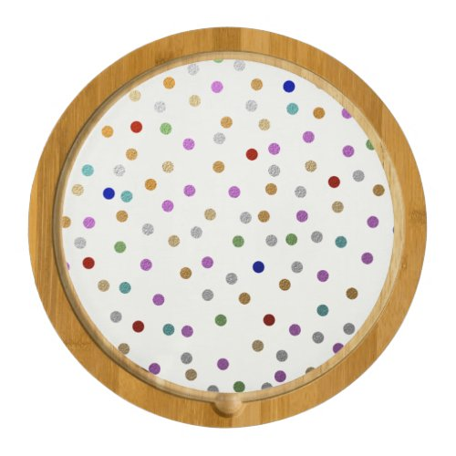Trendy Colorful Dots Pattern Round Cheeseboard
