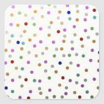 Trendy Colorful Dots Pattern Square Sticker
