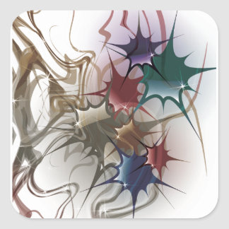 Trendy Colorful Ink Splash Square Sticker
