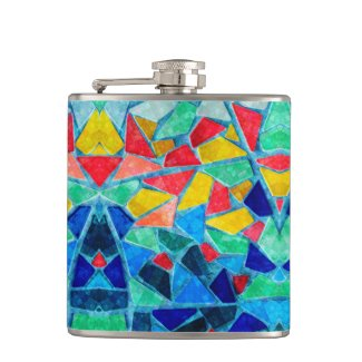 Trendy Colorful Mosaic Abstract Pattern Hip Flask