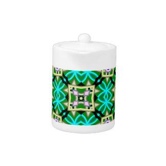 Trendy colorful pattern teapot