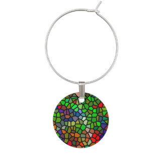Trendy Colorful stained glass Wine Glass Charm