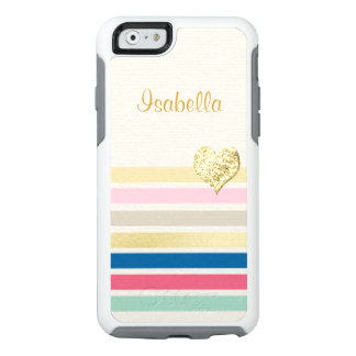 Trendy Colorful Stripe Girly Sparkly Gold Heart OtterBox iPhone 6/6s Case