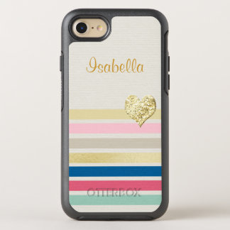 Trendy Colorful Stripe Girly Sparkly Gold Heart OtterBox Symmetry iPhone 7 Case