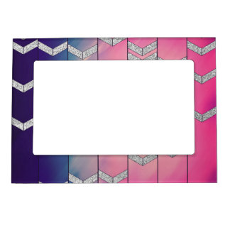 Trendy Colorful Watercolor Arrow Zig Zag Glitter Magnetic Picture Frame