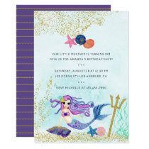 Trendy Colorways Mermaid themed Birthday Party Card
