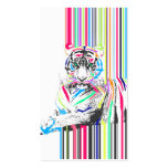 trendy colourful vibrant neon stripes tiger pain business card templates