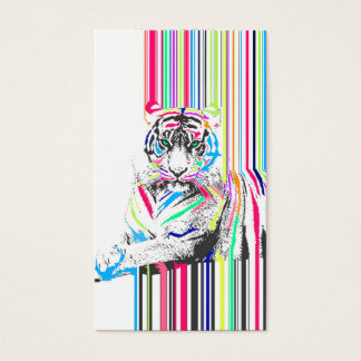 trendy colourful vibrant neon stripes tiger pain business card