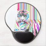 trendy colourful vibrant neon stripes tiger pain gel mouse pad
