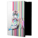 trendy colourful vibrant neon stripes tiger pain powis iPad air 2 case
