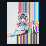 """trendy colourful vibrant neon stripes tiger pain poster<br><div class=""""desc"""">Cool awesome trendy colourful vibrant neon stripes tiger paint, bright blue, darker vibrant royal blue, aqua green, neon green, soft pink, hot pink, orange, yellow, grey, black, white, neon colours. Animal, wild, cat, animal lovers, illustration, unique, fashion, vibrant trendy summer colours, happy, hipster, popular, modern, pretty, artistic, art, paint, awesome,...</div>"""
