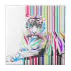 trendy colourful vibrant neon stripes tiger paint ceramic tile