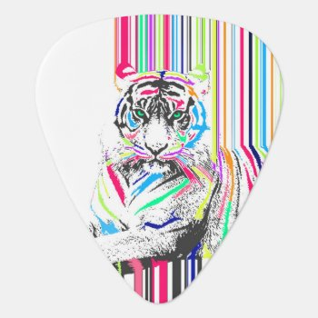 Trendy Colourful Vibrant Neon Stripes Tiger Paint Guitar Pick by InovArtS at Zazzle