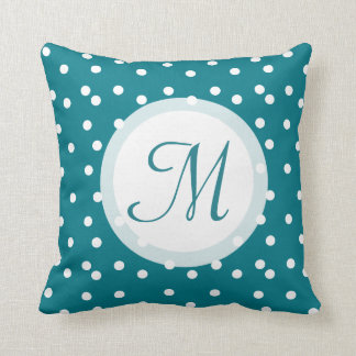 Trendy Confetti Dots Monogrammed Bluish Green Pillow